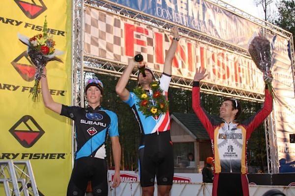 The 2009 Iceman Cometh elite men's podium: Sam Schultz (2nd, Gary Fisher-Subaru), Jeremy Horgan-Kobelski (1st, Gary Fisher-Subaru) and Brian Matter (3rd, Gear Grinder).