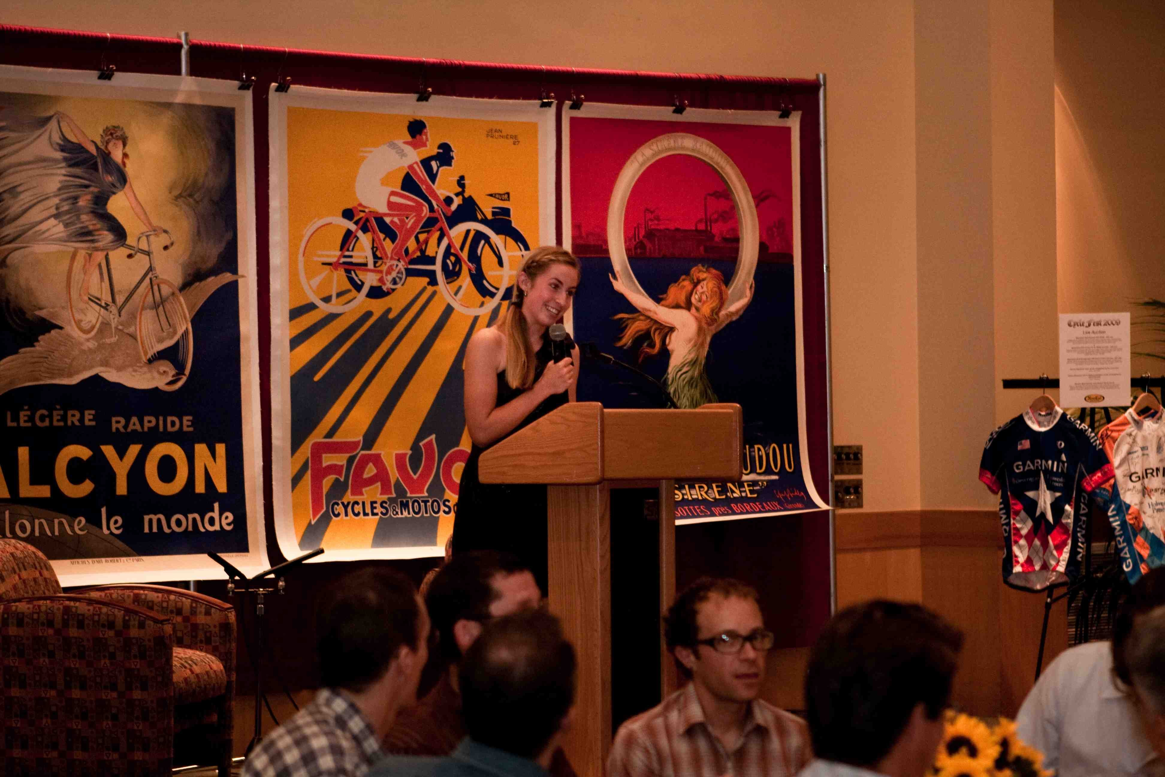 Marin Catholic's racer Victoria Yoham speaks in front of the 250-plus in attendance.