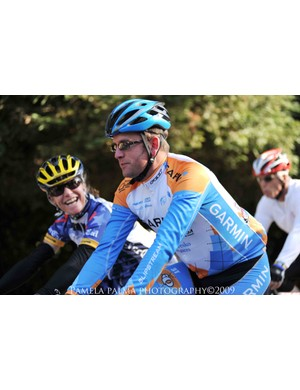 Vaughters rides alongside Colorado High School Racing League's director Kate Rau in Marin County on November 8, 2009.