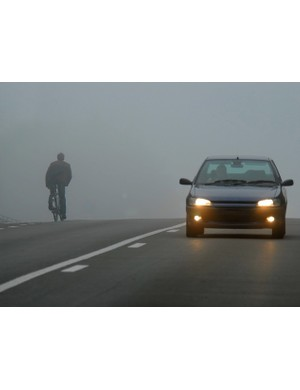 You may have decent lights, unlike this chap, but without a reflective or hi-vis jacket it's difficult for drivers to spot you