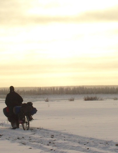 Alstair cycling through Siberia in winter