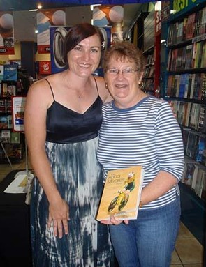 Anna Meares and Mrs Johnson with the first signing of her new book in Rockhampton, Meares' home town.