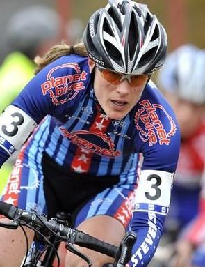 American cyclo-cross racer Katie Compton powers through a turn in Belgium November 15, 2009.