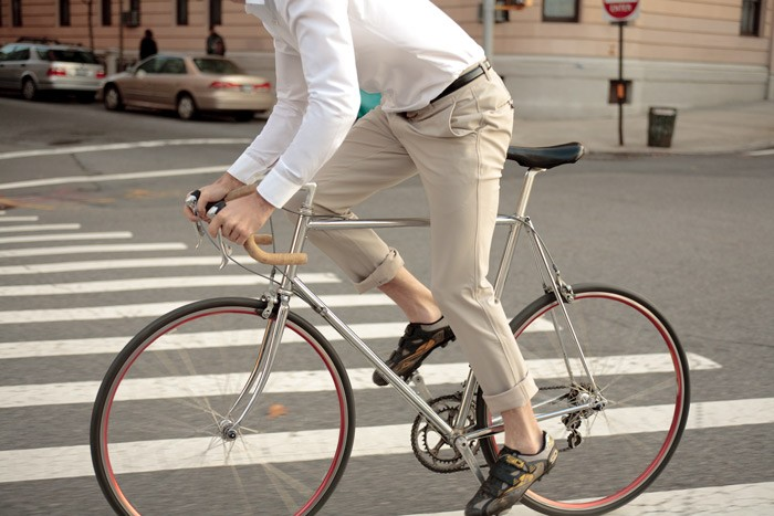 The new Outlier Khaki OG pants, as seen in the streets of New York City.