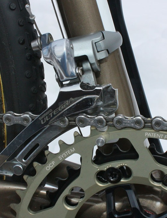 The Shimano Ultegra front derailleur has to be set fairly high in order to clear the Rotor Q-Rings' elliptical profile