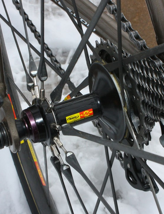 Though the front wheel is all moulded together, the rear uses an alloy hub shell that allows for truing when necessary