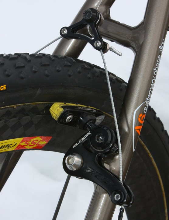 Inplace Adjust pad holders on the TRP EuroX brakes give them nearly all the adjustability of higher-end models and nearly identical weight but at a fraction of the cost