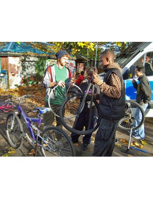 The Bristol Bike Project help out at St Paul's Adventure Playground