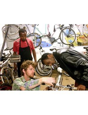Tweaking a bike in the workshop