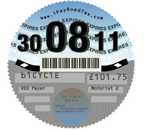 """The proposed design for Carlton Reid's """"I Pay Road Tax"""" logo -  a parody of the UK tax disc"""