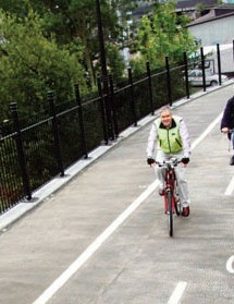 Cyclists using the new walking/cycling link between Agar Grove and Camley Street in Camden