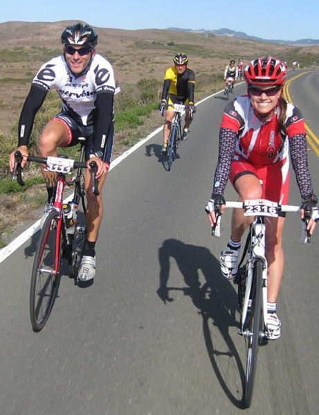 Riders enjoy the sweeping views from Highway 1 in Sonoma County during the October 3 Levi gran fondo.