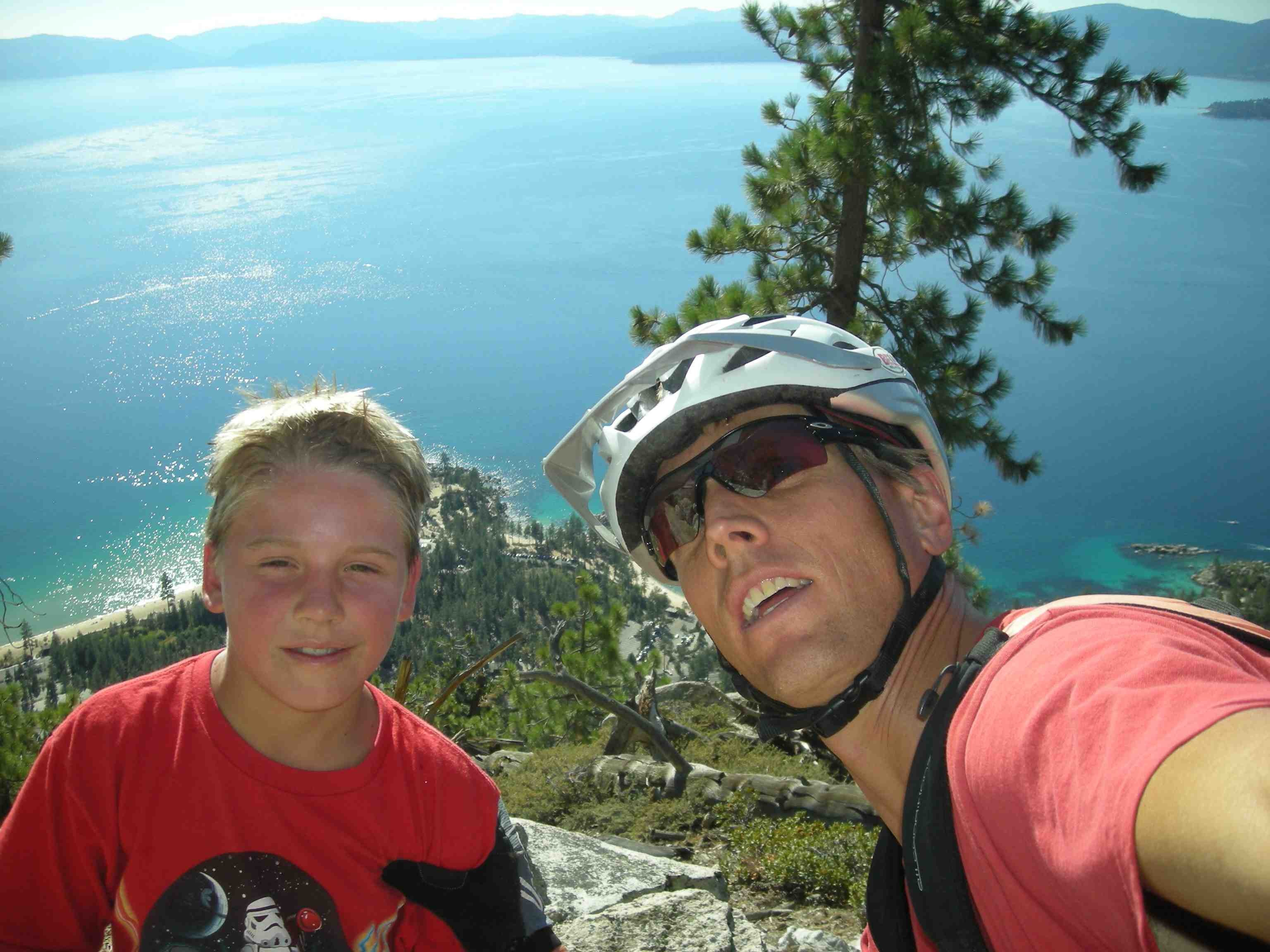 Cooper and his dad enjoying the Flume Trail at Lake Tahoe