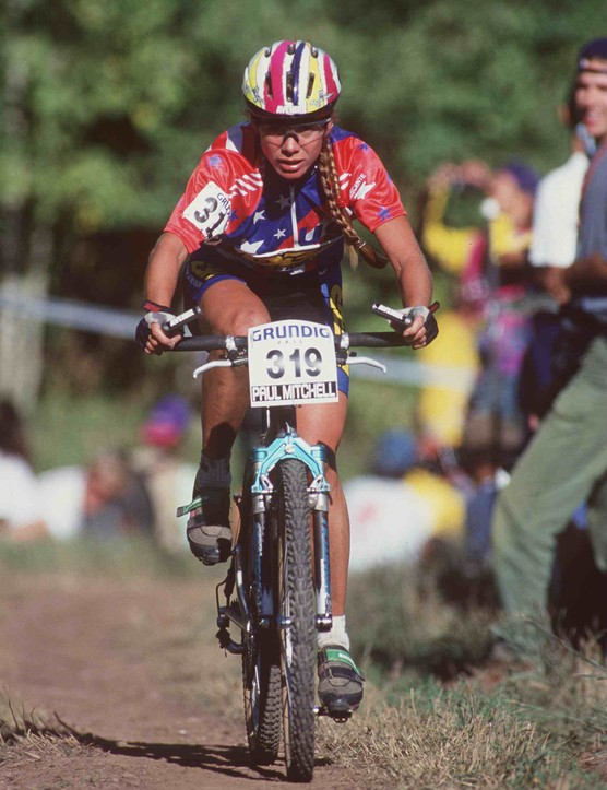 Susan on her way to a silver medal at the 1994 World Championship in Vail, Colorado
