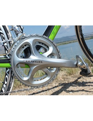The new Ultegra crank is shapelier than before for a more dramatic appearance but the new lines also lend more chainring spider rigidity