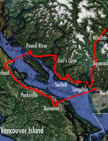 The 2010 race route of the BC Bike Race.