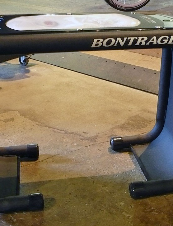 This test bench is used to measure the distance between your sit bones to determine the proper saddle size.