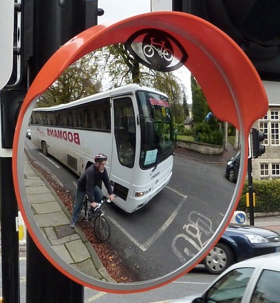 Convex-Mirrors Ltd of Bath have developed this mirror, which bears a Warning Cyclist logo to remind drivers to watch out for bikes