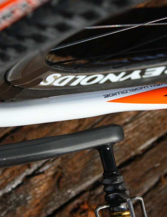 Lateral tyre clearance around the chainstays is tight but slight dimples leave more room around the crankarms