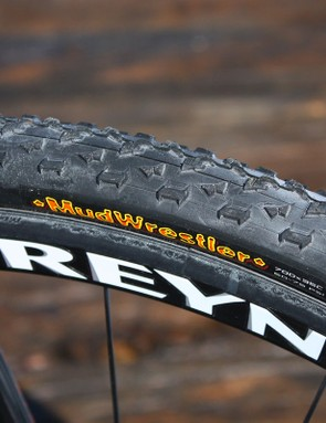 The Maxxis Mud Wrestler clinchers feature an aggressive tread design for grip in sloppy conditions