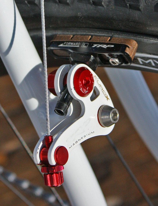 Kabush uses TRP's carbon-specific pad on his Reynolds rims
