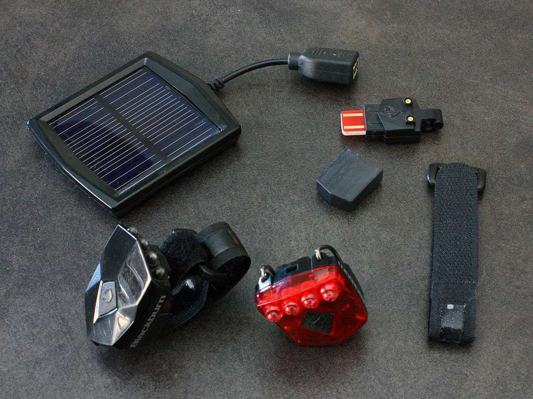 The complete Blackburn Flea USB+Solar kit is expensive at US$39.99 (front or rear) but heavy users will quickly make that up in saved battery costs and the solar charger can be used for other devices, too