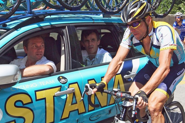 Johan Bruyneel (in car) has revealed details of the new Team RadioShack, headlined by Lance Armstrong