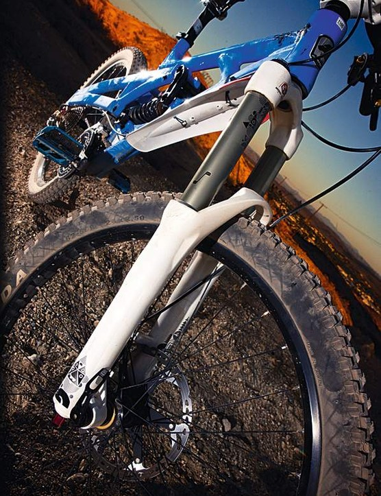 The RockShox Totem coil sprung fork offers  180mm of travel