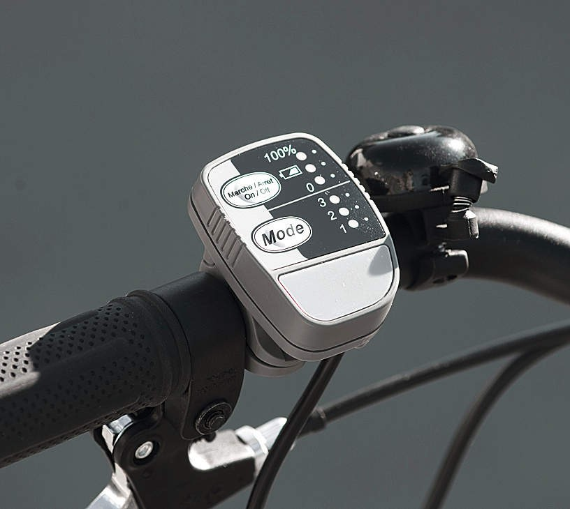 The E-Bike has three power assist levels: low, medium and high, controlled via a handlebar unit