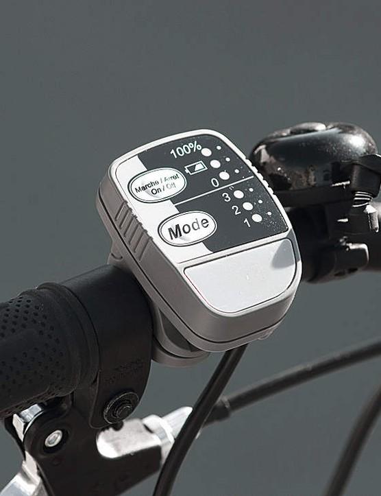 The E-Bike has three power assist levels: low, medium and high, controlled via a handlebar unit