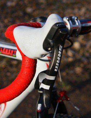 The SRAM Force DoubleTap levers are wrapped with Hudz' aftermarket brake hoods