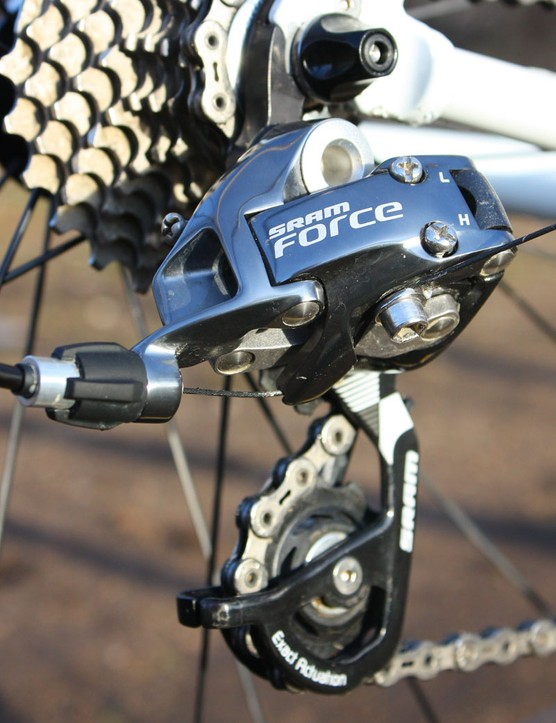 The SRAM Force rear derailleur technical sits second-fiddle in the line but differs little from Red in practice