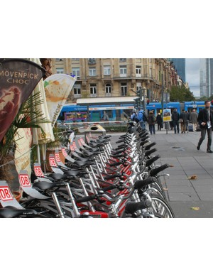 Karlsruhe is planning to install a Call a Bike hire scheme like this one in Frankfurt