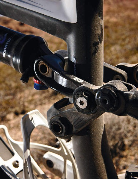 The Fox Rp23 shock allows for direct attachment of two forged seatstay extensions at the rear