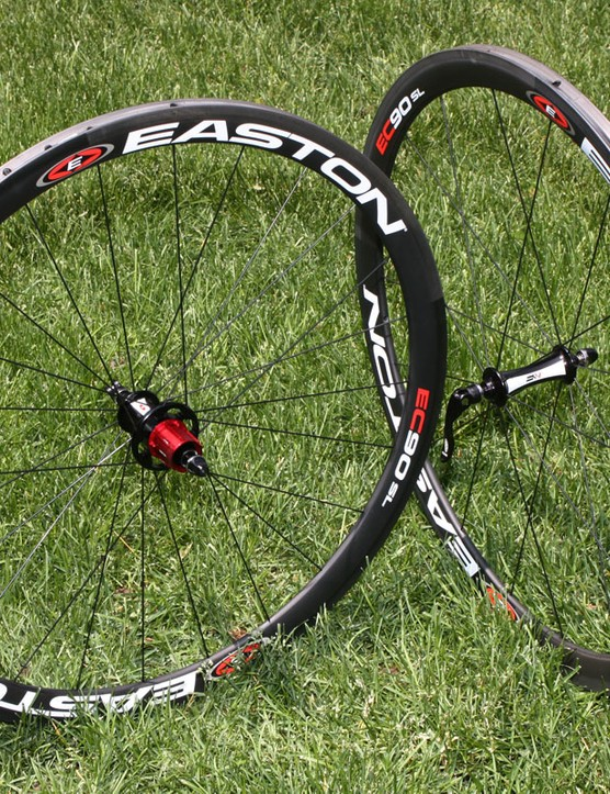 Easton's EC90 SL carbon tubular wheels are lightweight but also reassuringly durable