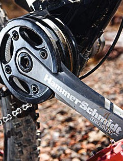The Hammerschmidt internal two-speed chainset is guaranteed to be a talking point on every ride