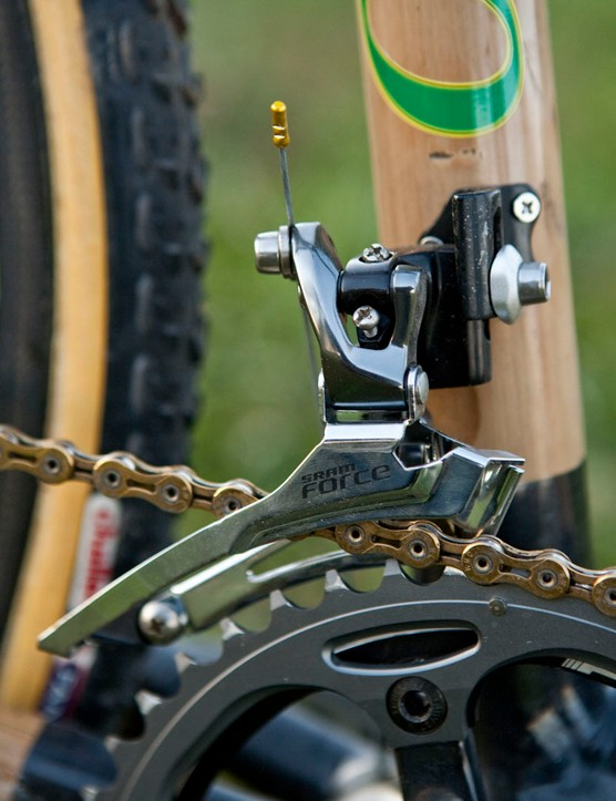 The SRAM Force front derailleur is bolted to a removable tab