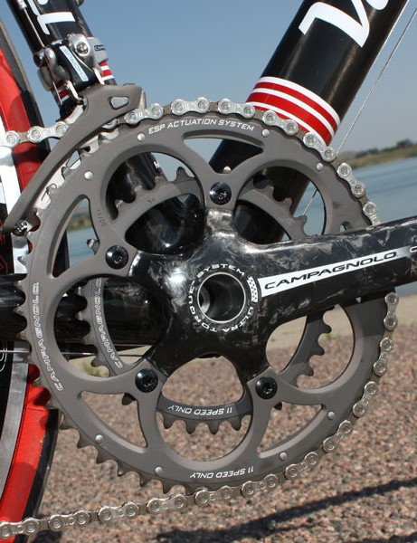 Campagnolo offer a trick press-fit bottom bracket that allows the use of their Ultra Torque cranks in BB30 shells with no separate adapters required