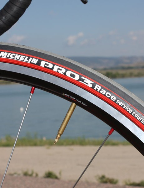 Michelin's Pro 3 Race clinchers deliver a fast roll and excellent cornering grip