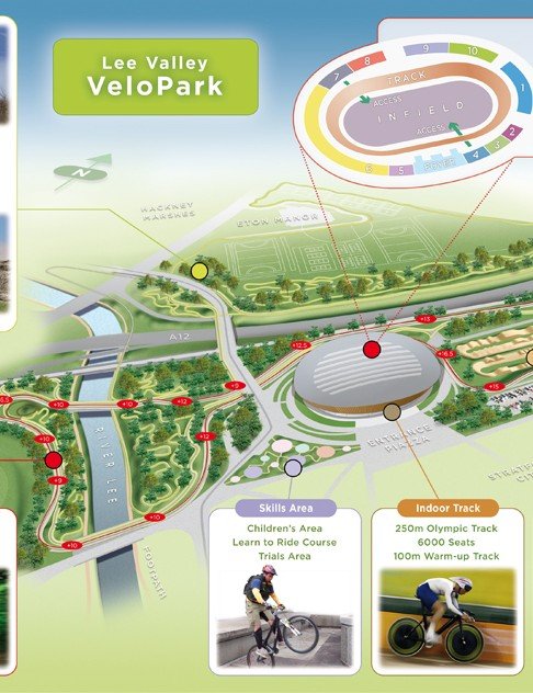 Artist's impression showing the cycling facilities to be built after the Games