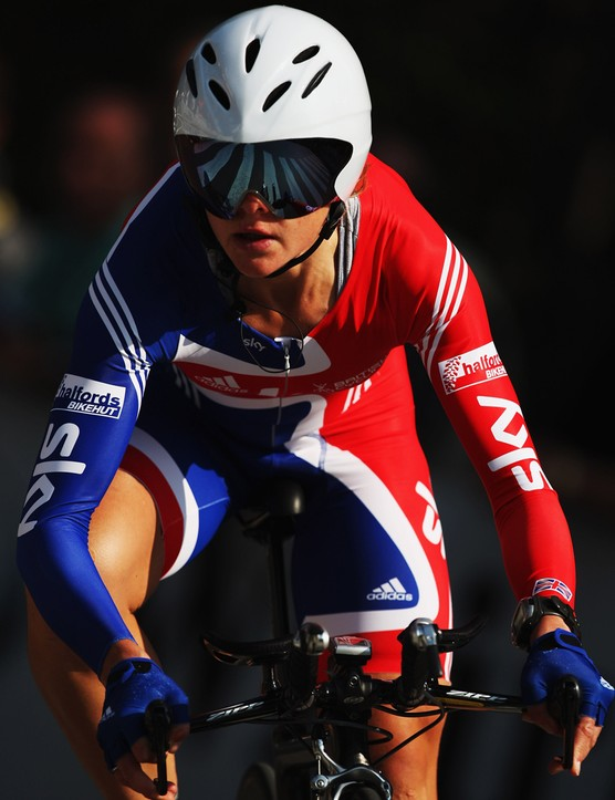 Sharon in action in the time trial during the 2008 UCI Road World Championships