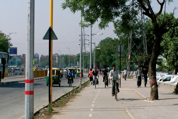 Delhi was studied for the report, but it needs a lot more bike lanes like this one.