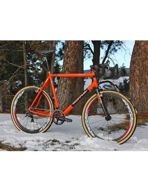 Ryan Trebon (Kona) is hard to miss aboard this ultra-tall – and very orange – Kona Major Jake with custom geometry