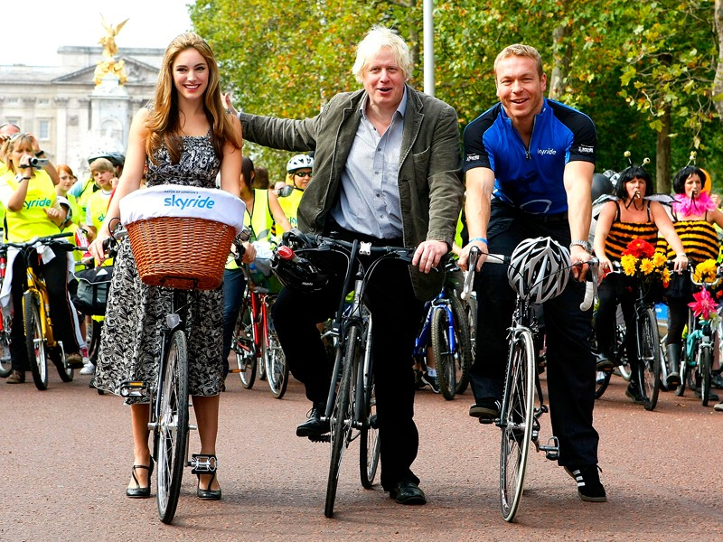 Boris Johnson, pictured with Kelly Brook and Sir Chris Hoy at the London Skyride in September, is forging ahead with his plans for 10 Cycle Superhighways in the British capital