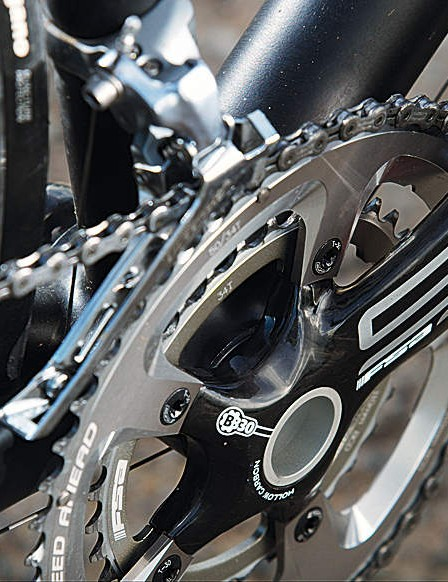 The chainset is light and stiff and the compact size saves you blowing a  gasket on steep climbs