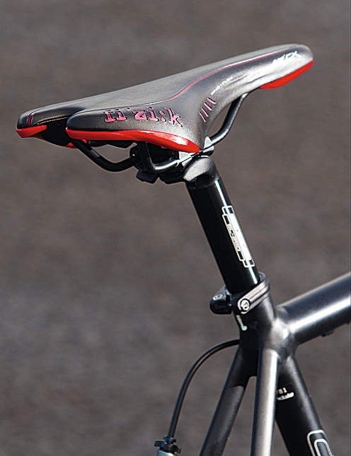 Fizik's Pavé saddle has just enough padding and flex in the hull for ride- all-day comfort