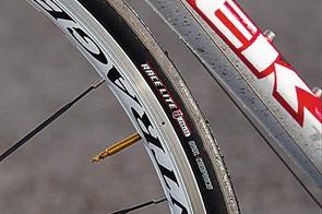 The light, flex-free race wheels come from Trek's own Bontrager brand