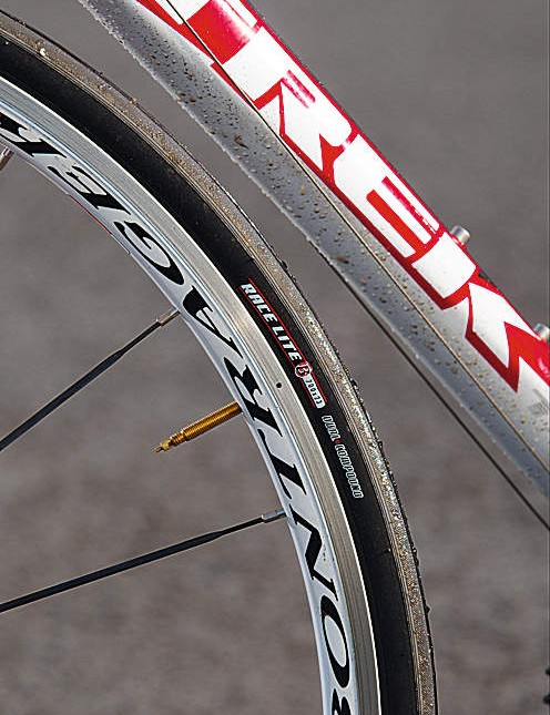 The light, flex-free race wheels come from Trek's own Bontrager brand