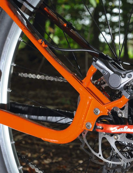 Post mount rear disc brakes are still an unusual, and excellent, bonus