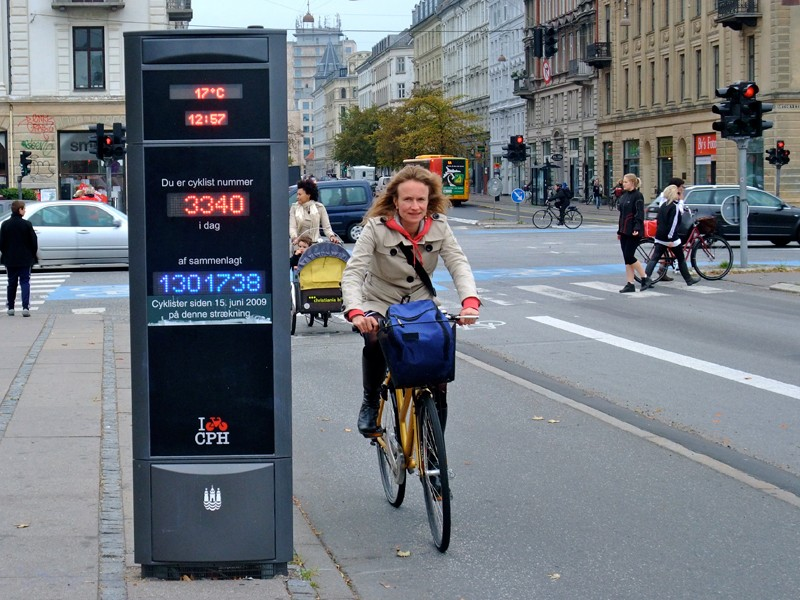 Measures to encourage cycling in Copenhagen include electronic bicycle counters
